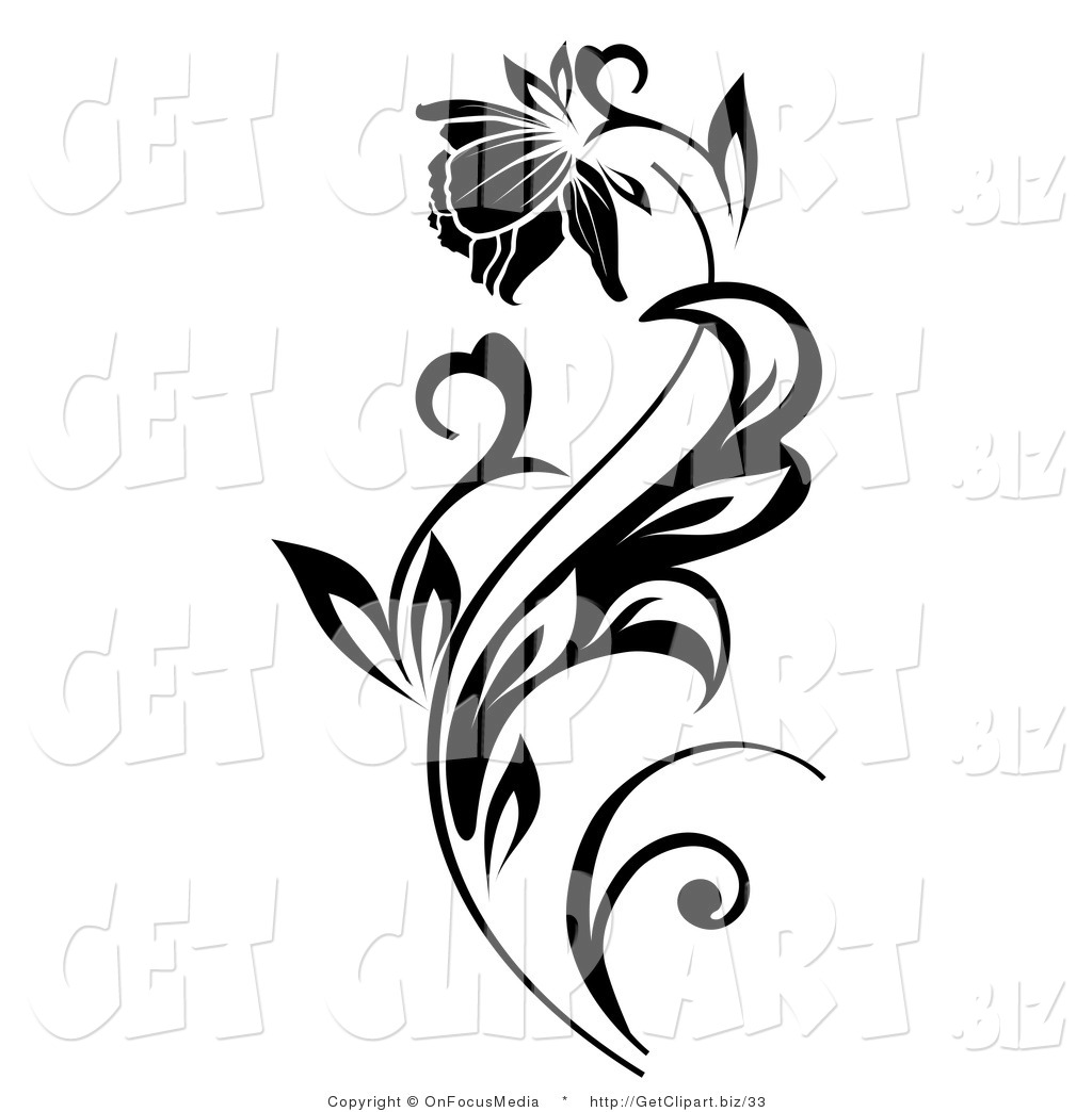 Clip Art Of A Beautiful Flower Blooming On Black Plant