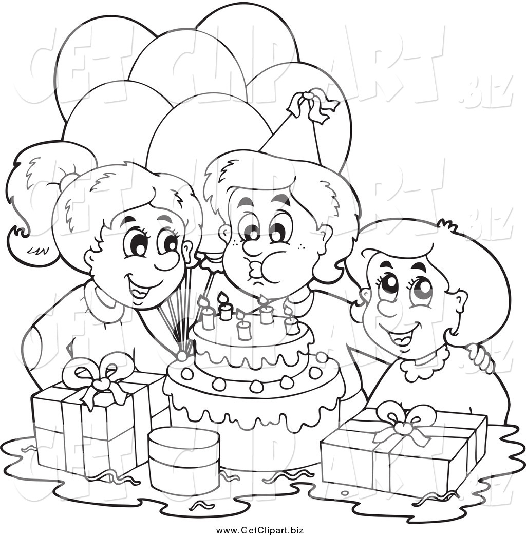 Clip Art of a Black and White Birthday Boy Blowing out His ...