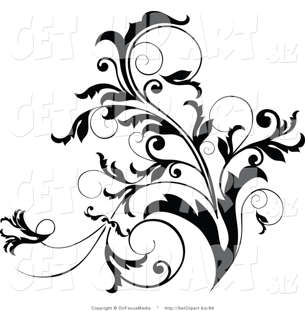 Exceptionnel Clip Art Of A Black And White Curly Plant Flourish Design Accent Growing Up
