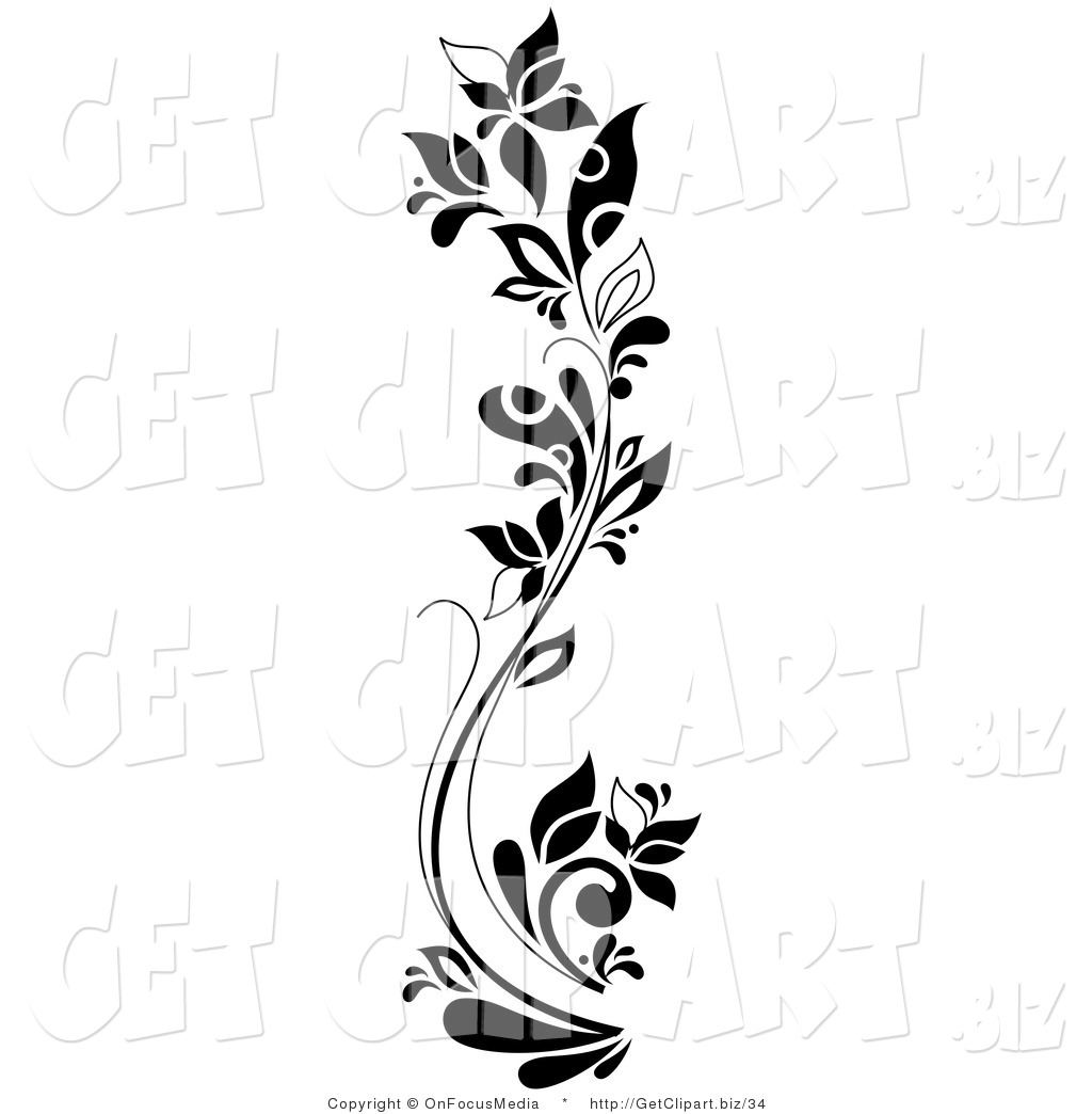 Royalty free stock get designs of flowers - Design art black and white ...