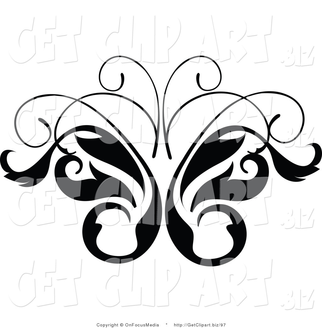 Clip Art of a Black and White Leavy Butterfly Vine Scrolling Design
