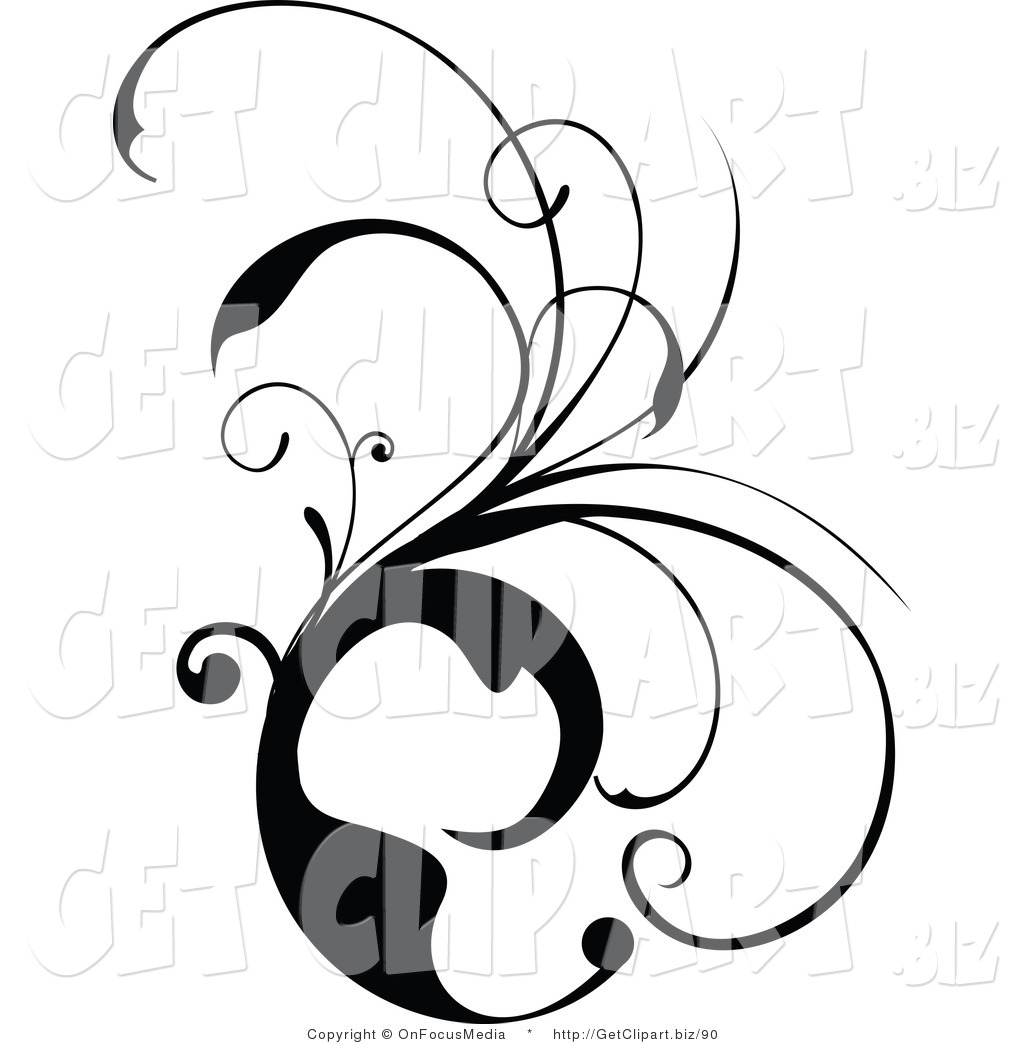 Clip Art of a Black and White Scrolling Design Vine