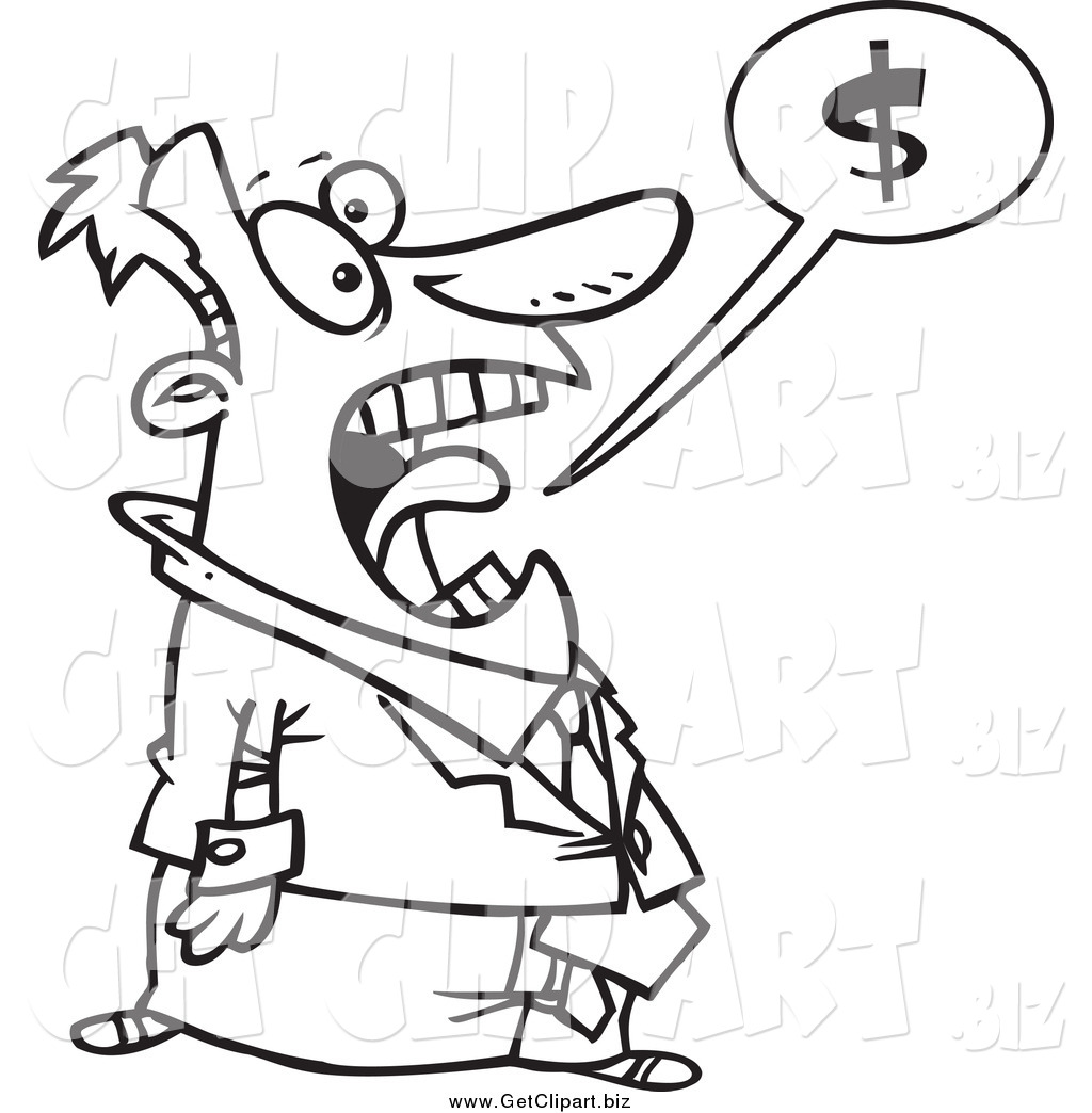 larger preview  clip art of a black and white stressed businessman shouting about money by ron