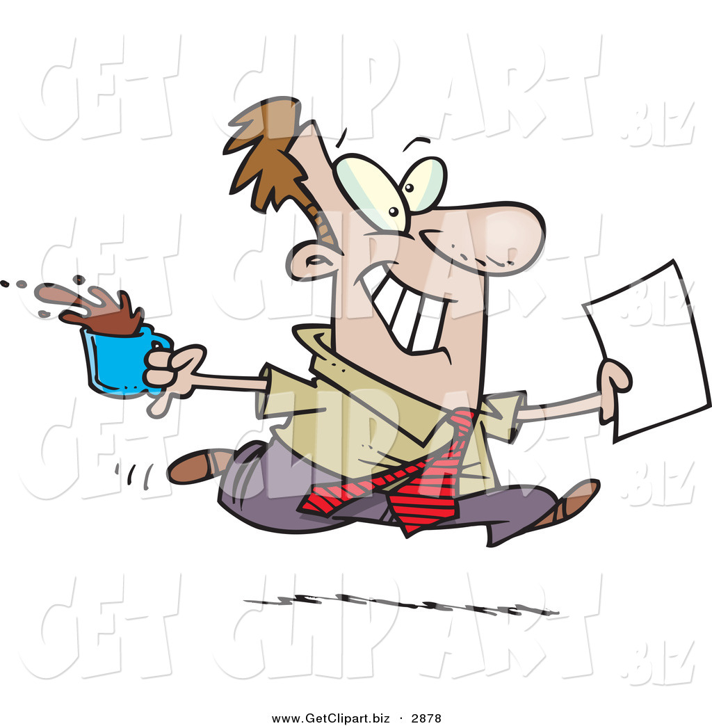 Clip Art Of A Cheerful Brown Nosing Business Man Fetching Coffee And Papers For The Boss By Ron Leishman