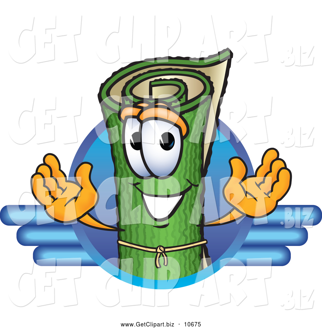 Cartoon Characters Green : Clip art of a friendly green carpet mascot cartoon
