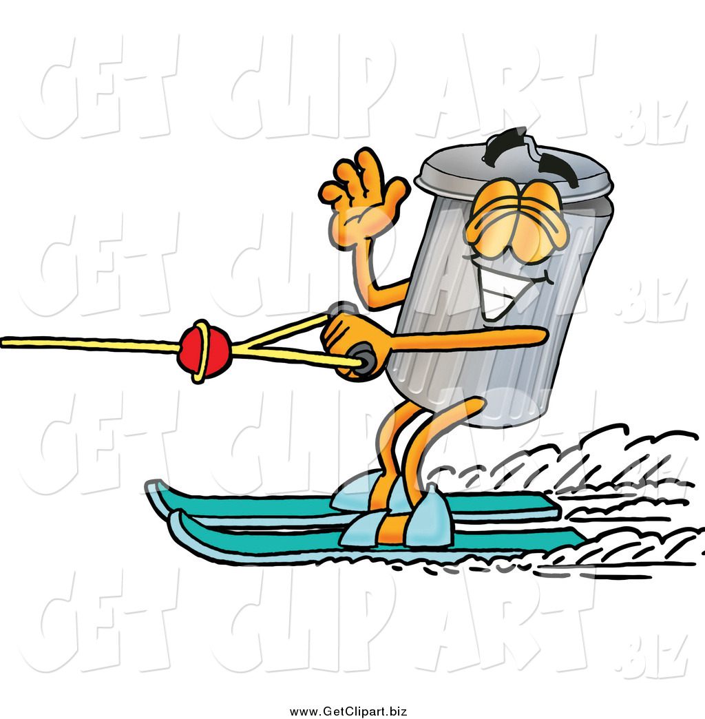 Clip Art of a Garbage Can Character and Water Skiing by ...