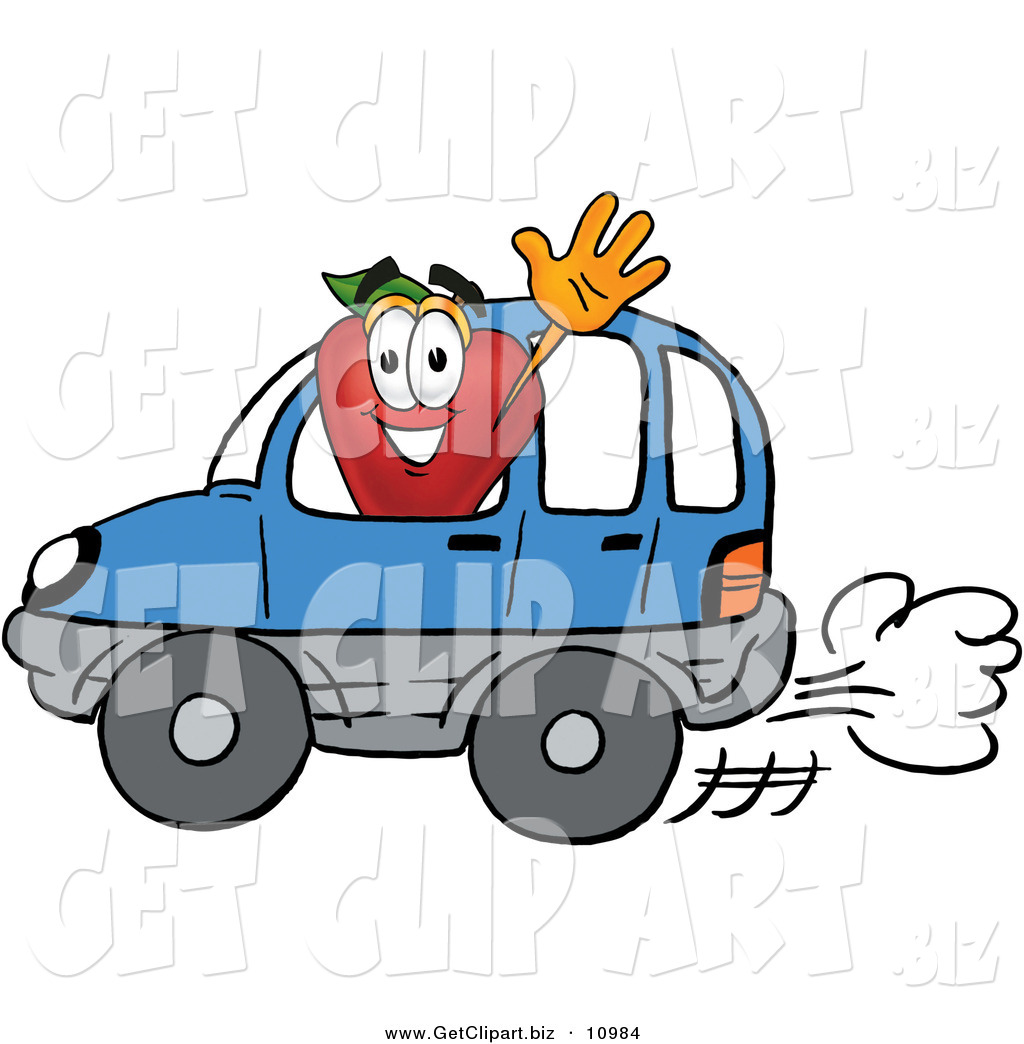 Red Apple Character Mascot Waving While Driving by in a Blue Car by