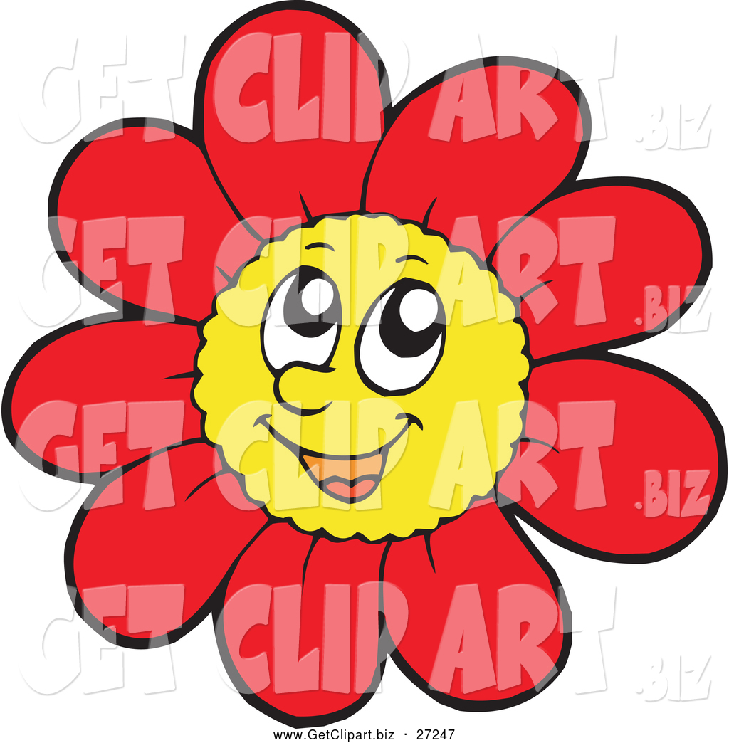Clip Art of a Happy Red Daisy Flower Character by visekart - #27247