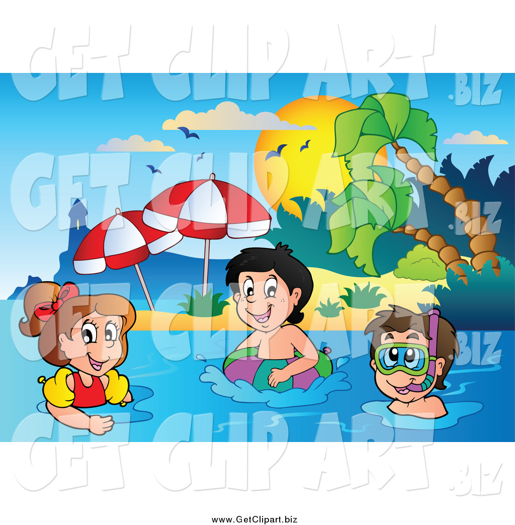 Clip Art Of A Happy White Kids Swimming Near Tropical Beach