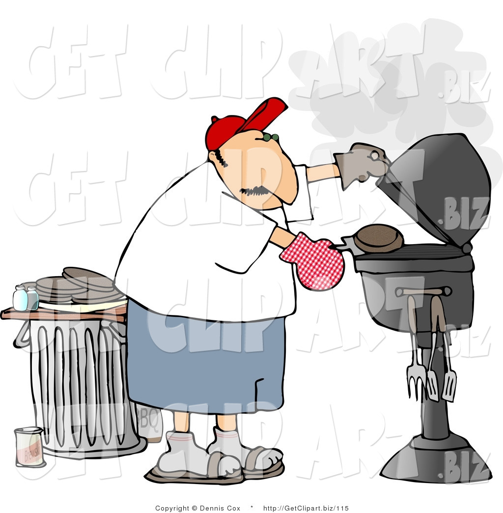 of-a-male-bad-cook-putting-a-hamburger-on-a-smoking-barbecue-bbq-grill ...