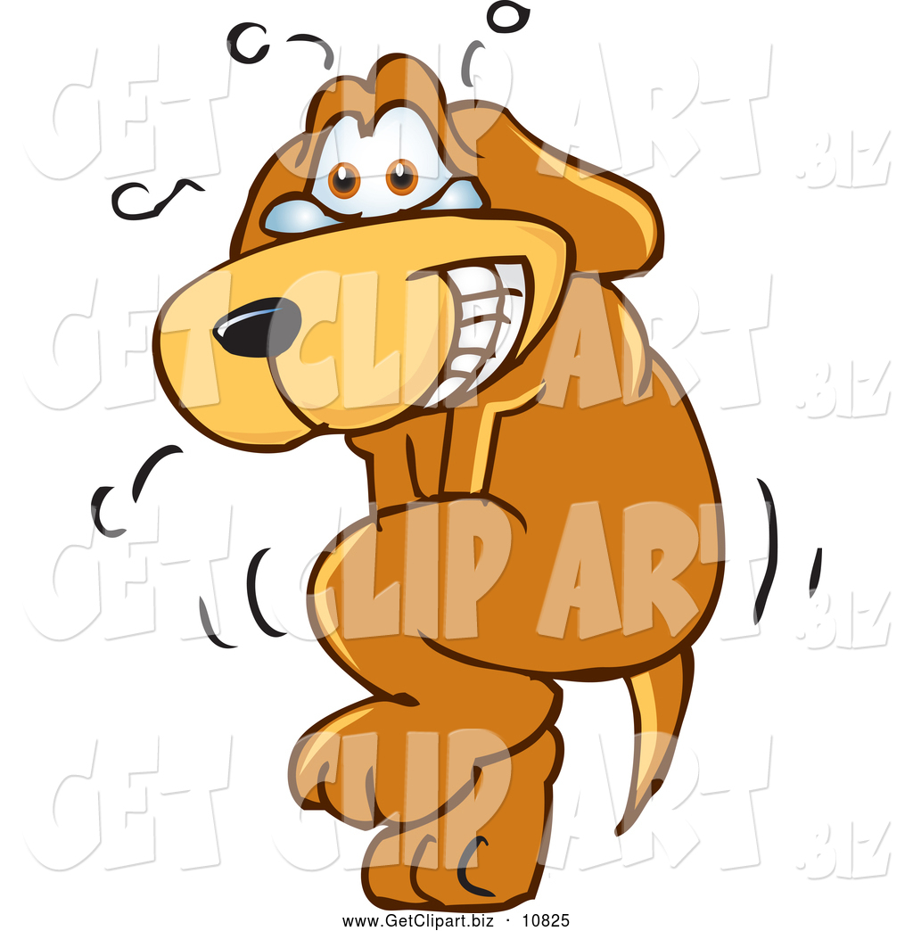 Clip Art of a Nervous and Sweating Brown Dog Mascot ...