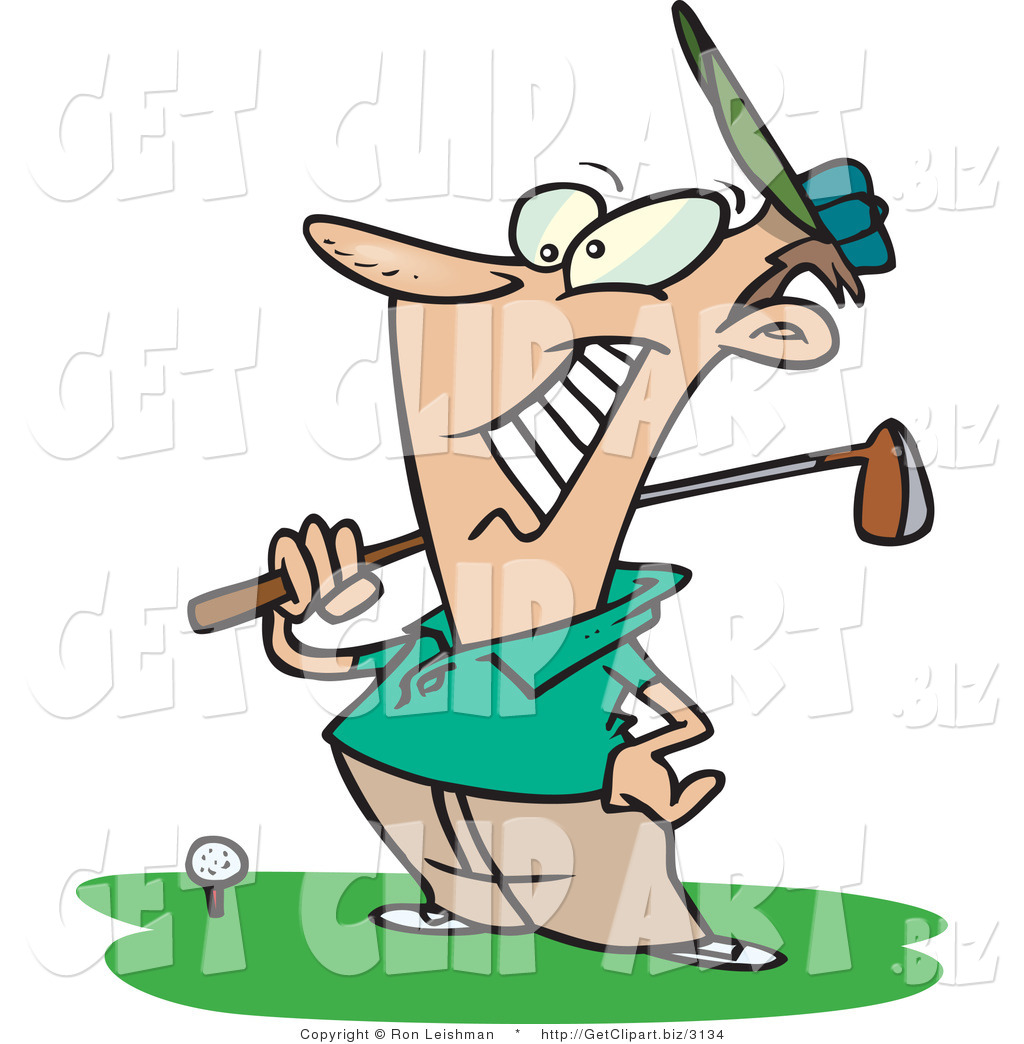 Clip Art of a Proud Male Golfer near a Ball, Holding His ...