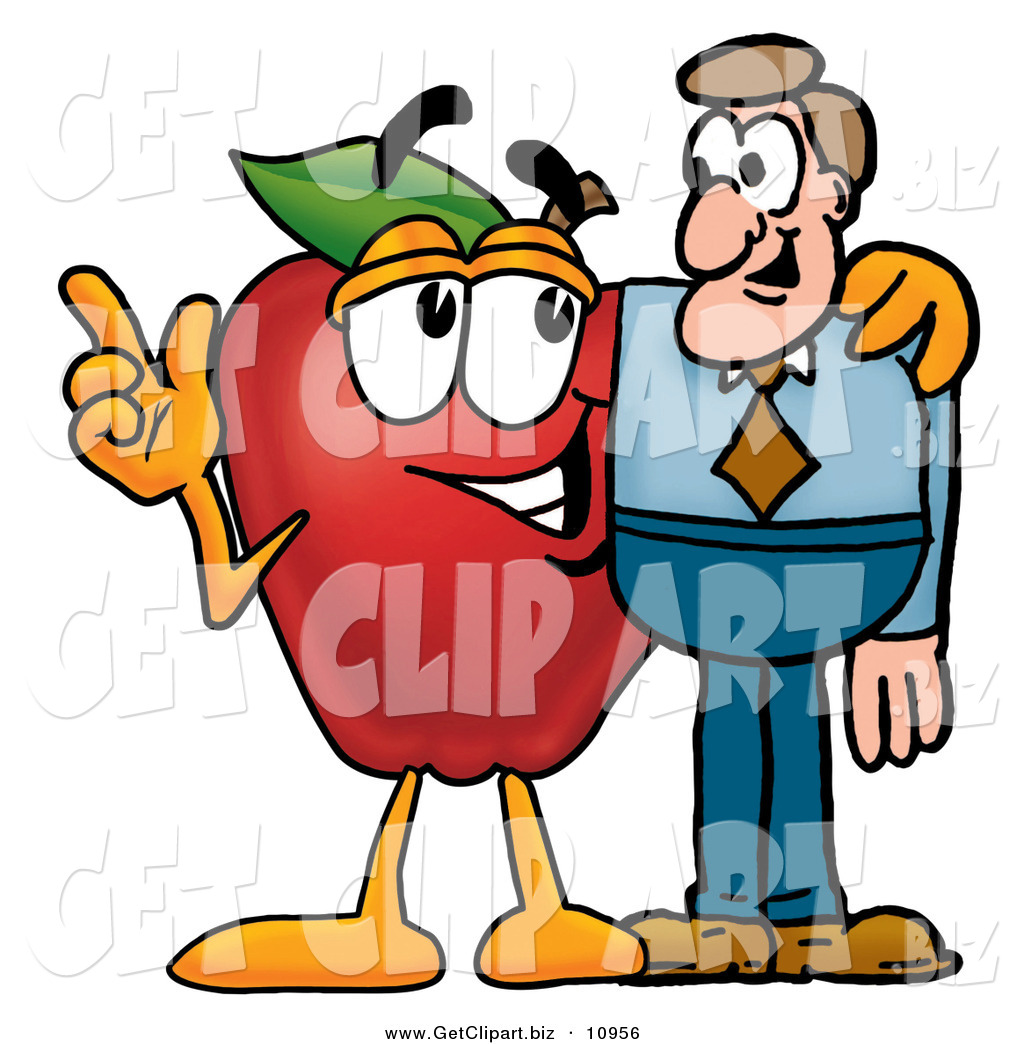 Clip Art of a Red Apple Character Mascot Talking Nutrition ...