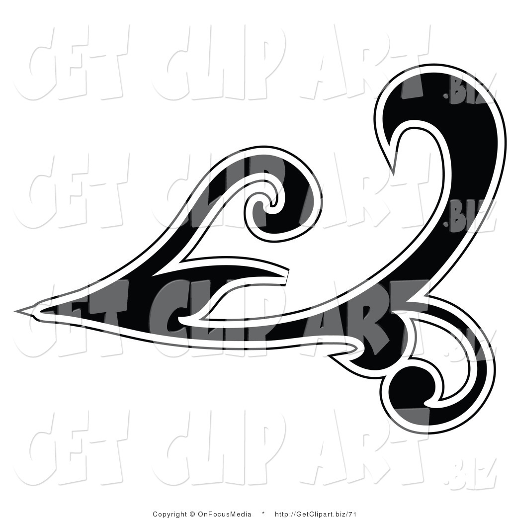 Clip Art Of A Silhouetted Black Leafy Scroll Flourish Design Outlined In  White