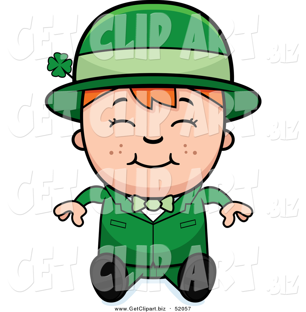 clip art of a sitting happy child leprechaun boy by cory thoman