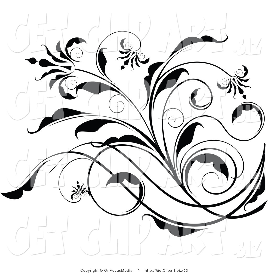 Black and White Scroll Clip Art