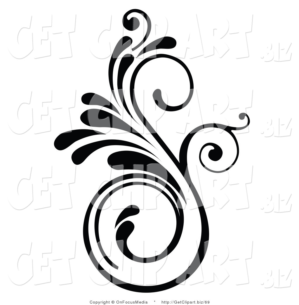Clip art of an elegant swirling black design accent by onfocusmedia 69 - Design art black and white ...
