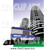 Clip Art of a Ambulance and Skyscraper by