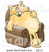 Clip Art of a Anthropomorphic Cat Napping on a Recliner Chair over a White Background by Djart