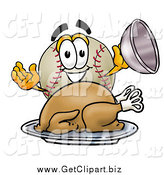 Clip Art of a Baseball Character Serving a Thanksgiving Turkey on a Platter by Toons4Biz