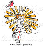 Clip Art of a Baseball Player Twisting Himself While Swinging by Johnny Sajem
