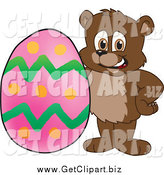 Clip Art of a Bear Cub with an Easter Egg by Toons4Biz