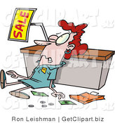 Clip Art of a Beat up White Employee Trampled During a Sale by Toonaday