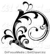 Clip Art of a Beautiful Black Silhouetted Elegant Leafy Scroll Design Growing up by OnFocusMedia
