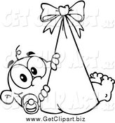 Clip Art of a Black Ad White Happy Baby in a Bundle by Hit Toon