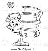 Clip Art of a Black and White Bee over a Graduate School Boy Carrying a Stack of Books by Hit Toon