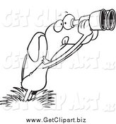 Clip Art of a Black and White Bird Dog Using Binoculars by Toonaday