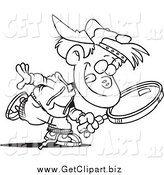July 19th, 2014: Clip Art of a Black and White Boy Seeking with a Magnifying Glass by Toonaday