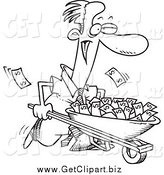 Clip Art of a Black and White Businessman Pushing a Wheelbarrow Full of Cash by Toonaday