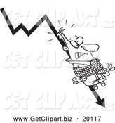 Clip Art of a Black and White Businessman Tied to a Plumeting Arrow by Toonaday