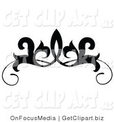 Clip Art of a Black and White Design Scroll or Tattoo Design on White by OnFocusMedia