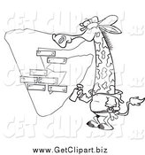 Clip Art of a Black and White Giraffe Spray Painting a G on a Wall by Toonaday