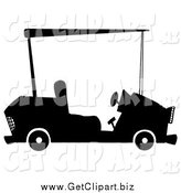 Clip Art of a Black and White Golf Cart by Hit Toon