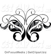 Clip Art of a Black and White Leavy Butterfly Vine Scrolling Design by OnFocusMedia