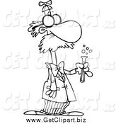 Clip Art of a Black and White Male Goofy Scientist by Toonaday
