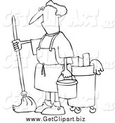 Clip Art of a Black and White Man Mopping by Djart