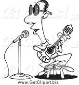Clip Art of a Black and White Man Singing the Blues by Toonaday