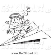 Clip Art of a Black and White Pilot Boy Flying on a Paper Plane by Toonaday