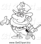 Clip Art of a Black and White Presenting Leprechaun by Toonaday