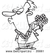 Clip Art of a Black and White Puckering Man Holding Flowers by Toonaday