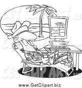 Clip Art of a Black and White Relaxed Man Taking a Virtual Vacation in His Office by Toonaday