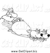 Clip Art of a Black and White Santa Mushing with Dogs by Toonaday