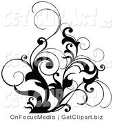 Clip Art of a Black and White Scrolling Design Accent of Curly Leaves by OnFocusMedia