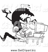 Clip Art of a Black and White Shadow Monster Behind a Man on a Computer by Toonaday