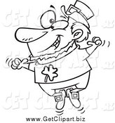 Clip Art of a Black and White St Patricks Leprechaun Jumping up and down by Toonaday