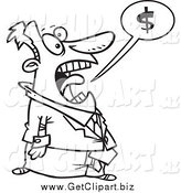Clip Art of a Black and White Stressed Businessman Shouting About Money by Toonaday